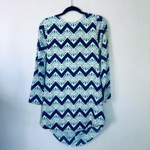 Everly Long Sleeve Blue Patterned Dress-Size Small